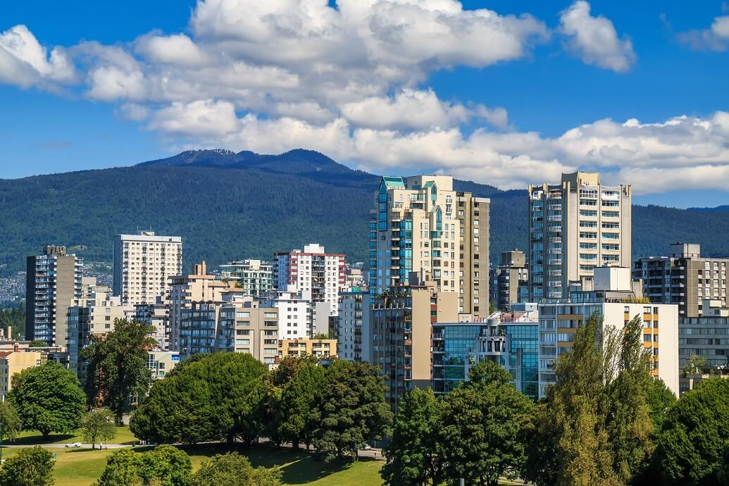 View on The West End of Vancouver across English Bay