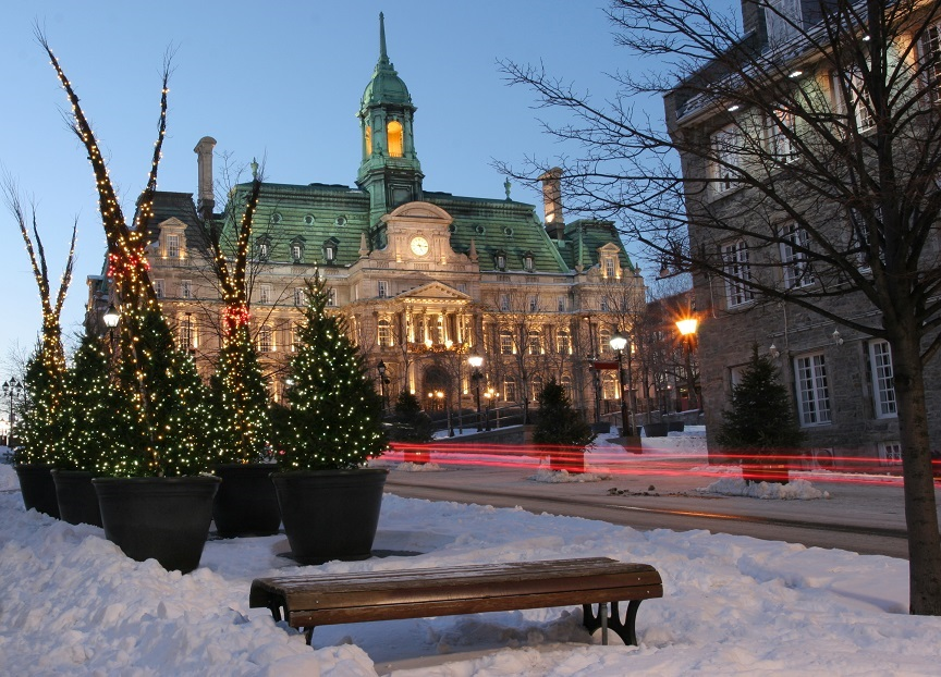 City Hall of Montreal at Christmas time in winter