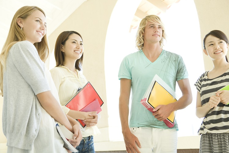 students standing still at hallway of school